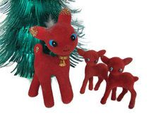 """Vintage Christmas Reindeer Set, 1960's Red Flocked Reindeer, Red Reindeer Figurine, Christmas Decor, Decorations, Mid Century -""""Oh so cute!"""""""