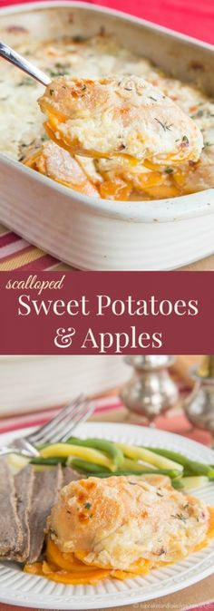 Scalloped Sweet Potatoes and Apples - my family devoured this cheesy side dish that is perfect with roast beef, turkey, or a holiday ham. Make this sweet and savory recipe for Thanksgiving, Christmas, or Sunday dinner. gluten free, vegetarian