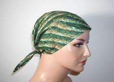 """Kopftücher - Kopftuch """"Ella"""" in grün mit Kaktusdruck - ein Designerstück von beHUETE-dich bei DaWanda"""