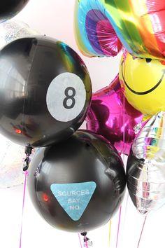 '90s Sleepover Party + DIY Magic 8 Ball Balloons