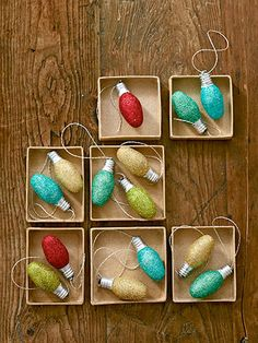 We turned old night-light bulbs into festive ornaments, but any size will do. Just brush on glittering glue, roll the bulb in glitter, and let dry for 15 minutes. Then hot-glue a loop of metallic embroidery floss to the bulb's base. (Glittering glue with brush, $3.65 for 4 oz.; dickblick.com)