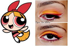 Powerpuff Girl-inspired eye makeup by Dayane Zanni - click through to see eye makeup inspired by Bubbles and Buttercup.
