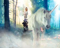 Unicorn Fairy Blues. Grumpy Fairy with flower eating unicorn in enchanted blue background.