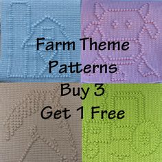 BUY 3 GET 1 FREE - Instant Downloads - Farm Theme Patterns - Barn, Cow, Horse and Tractor