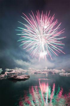 Once a year there is a firework-show at Jökulsárlón.  By Oscar Bjarna