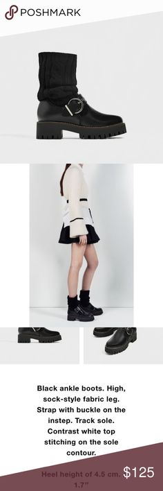 Sock Style Ankle Boots With Track Sole Super cool sock boots with that ballerina-off-duty style They belong to Zara Ballet Collection SS 2017 NWT Original Price: $239 Leather & Wool Size 8 (EU 39) Zara Shoes Ankle Boots & Booties