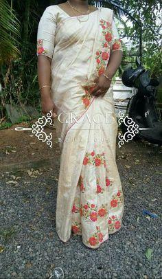 Saree Embroidery Design, Hand Embroidery Dress, Cutwork Saree, Tussar Silk Saree, Saree Painting, Simple Sarees, Designer Blouse Patterns, Elegant Saree, Saree Look