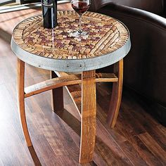DIY Wine Cork Table! Addition of glass just finishes it off!