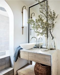 Articolo Float Glide Wall Sconces featured in Studio Kate's Urban Farm House Project master bathroom – story Decor, Home Projects, Interior, Home, Paint Colors For Living Room, Restroom Design, Bathroom Interior, Sleek Fireplace, Urban Farmhouse