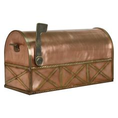 Country Post Mount Copper Mailbox with Brass Accents - Standard - Antique Copper