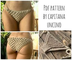 PDF-file for Crochet PATTERN, Ariella Mermaid Crochet Bikini Bottom with side ties, Sizes XS-L by CapitanaUncino on Etsy