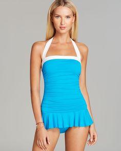 Ralph Lauren Lauren Bel Aire Solids Shirred Skirted One Piece Swimdress Swimsuit in Blue (Turquoise) | Lyst