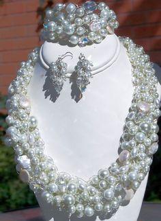 Chunky Pearl Wedding Jewelry Wire Crochet by MyWeddingJewelry, $158.00