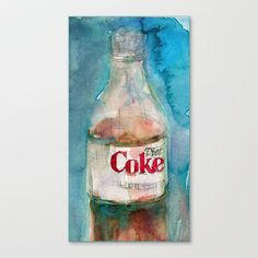 Diet Coke Watercolor Stretched Canvas by Dorrie Rifkin Watercolors - $85.00