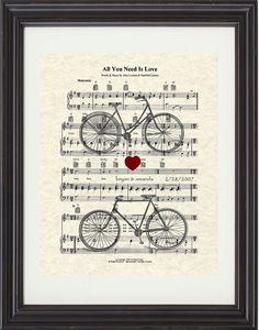 All You Need Is Love, The Beatles, Sheet Music, Art Print, Bicycles, Mr & Mrs, Custom, Names and Date