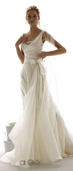 Chiffon or tulle gown with satin bodice from Le Spose Di Gio