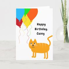 Cat Balloons Surprises Add Name Age Happy Birthday Card Birthday For Him, 50th Birthday Party, Birthday Balloons, Surprise Birthday Invitations, Happy Birthday Cards, Balloon Surprise, Colourful Balloons, Age, Personalized Stationery