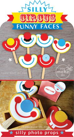 Photo booth prop printables to add a photo booth, and fun silliness, to any party theme! These party printables add laughter to a carnival birthday party, Carnival Party Favors, Circus Party Decorations, Circus Carnival Party, Circus Theme Party, Carnival Birthday Parties, First Birthday Parties, Birthday Party Themes, First Birthdays, Circus Party Invitations