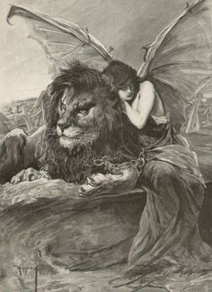 Lion and Woman with Devil Bat Wings Chained Together, by Jószef Arpád Koppay Artwork lion and angels resting, black white photography, Art And Illustration, Fantasy Kunst, Fantasy Art, Bullen, Arte Obscura, Bizarre, Art Graphique, Dark Art, Painting & Drawing