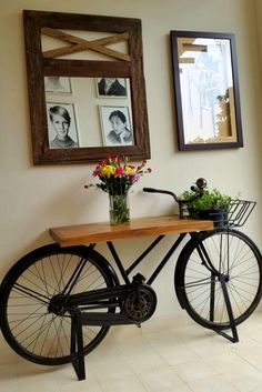 Incredible Industrial Farmhouse Coffee Table Ideas 11 – - All About Decoration Diy Furniture, Furniture Design, Business Furniture, Recycled Furniture, Office Furniture, Outdoor Furniture, Bicycle Decor, Diy Home Decor, Room Decor