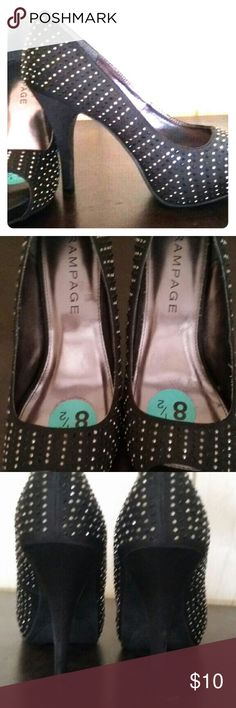 Beautiful  black studded heels Size 8.5 new bought them never worn peep toe. Heel is about 3 inches Rampage Shoes Heels