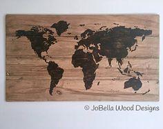 Multiplank World Map Distressed Wood Painting  FFarmhouse