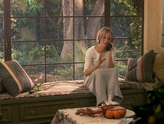 """""""Hanging Up"""" movie Meg Ryan's Spanish bungalow. I would love to have a window seat in my kitchen where I can sit and look outside."""