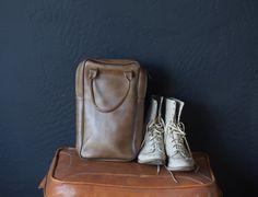 vintage brown vinyl rectangular midcentury luggage purse on Etsy, 33,55€
