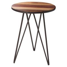 Industrial-style wood and metal end table.   Product: End tableConstruction Material: Wood and metal