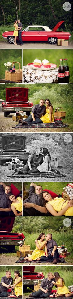 Styled vintage car picnic engagement session