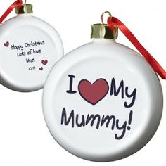 Personalised I love My Mummy Flat Bauble  from Personalised Gifts Shop - ONLY £10.99