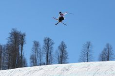 SOCHI, RUSSIA - FEBRUARY 03: An athlete trains during Ski Slopestyle practice at the Extreme Park at Rosa Khutor Mountain ahead of the Sochi 2014 Winter Olympics on February 3, 2014 in Sochi, Russia (Photo by Cameron Spencer/Getty Images)