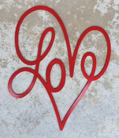 FREE SHIPPING - Valentine's Day Decoration - Plasma Cut Metal Heart with LOVE by MyMetalWorks on Etsy