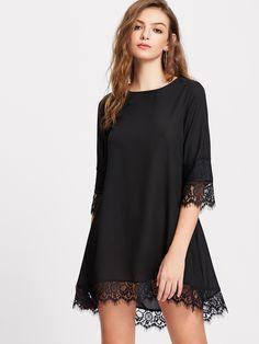 SheIn offers Eyelash Lace Trim Dip Hem Dress & more to fit your fashionable needs. Casual Dresses, Fashion Dresses, Casual Wear, Latest Dress, Dresses Online, Lace Trim, Plus Size Fashion, Womens Fashion, Fashion Trends
