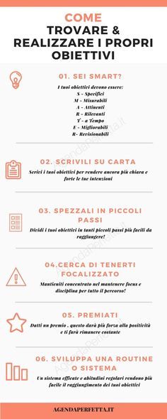 infografica come trovare i miei obiettivi e realizzarli infographic how to find my goals and achieve them Positive Vibes, Positive Quotes, Self Organization, Miracle Morning, Study Motivation, Running Motivation, Self Development, Better Life, Self Improvement