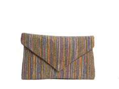 A summer to fall transitional piece.Multicolored Twill Envelope Clutch Bag