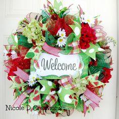 Summer Wreaths Front Door Wreaths Deco Mesh by NicoleDCreations