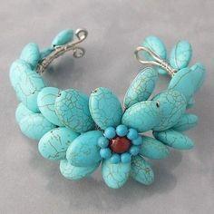 turquoise flower bangle