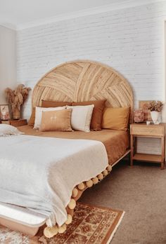 Curved Cuba Rattan Bedhead by Palm Cove Living. Get it now or find more Bedheads at Temple & Webster. Boho Bedroom Decor, Room Ideas Bedroom, Home Bedroom, Bedrooms, Aesthetic Bedroom, My New Room, House Rooms, Home Decor Inspiration, Interior Design
