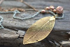 Golden Real Leaf Necklace . Authentic Pendant Vintage Bronze by RefreshJewelryToo