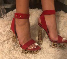 ENDING SOON:  VERSACE GREEK PLATFORM RED SUEDE HEELS US size 7 #shoes #designer