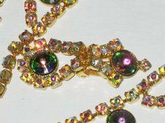 Bracelet collier clips oreilles strass aurora borealis années 50/60