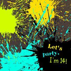 Coole Party-Einladung zum 14. Geburtstag mit knalligen Farbspritzern