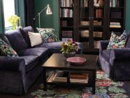 Two-seat sofa with chaise longue and armchair in Vellinge dark blue cover