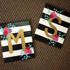 Canvas painting diy - Floral Letter Canvas by CharmingCanvases on Etsy – Canvas painting diy Kids Canvas Art, Small Canvas Paintings, Small Canvas Art, Easy Canvas Painting, Cute Paintings, Mini Canvas, Diy Painting, Canvas Ideas Kids, Canvas Crafts