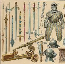 Algunas armas y armaduras de guerreros