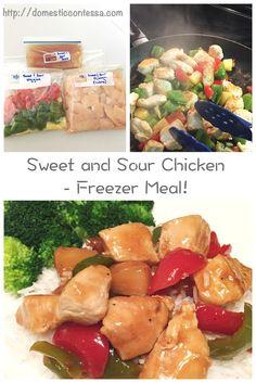 Sweet and Sour Chicken - freezer meal version! Chicken Freezer Meals, Easy Freezer Meals, Chicken Recipes, Freezer Recipes, Easy Dinners, Sweet N Sour Chicken, Vegan Pumpkin, Frozen Meals, Eat Smart