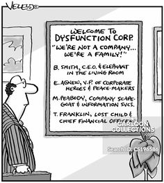 """Welcome to Dysfunction Corp. """"We're not a company. We're a family! Political Cartoons, Funny Cartoons, Business Cartoons, Family Problems, Scapegoat, Losing A Child, Print Magazine, The New Yorker, Welcome"""
