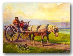 Red River Cart, painting by Canadian artist John Innes.  The Red River cart was a large two-wheeled cart made entirely of non-metallic materials. Often drawn by oxen, though also by horses or mules, these carts were used throughout most of the 19th century in the fur trade and in westward expansion in Canada and the United States, in the area of the Red River and on the plains west of the Red River Colony. The cart was a simple conveyance developed by Métis.
