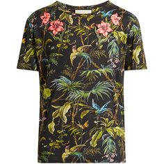 Gucci Jungle-print and appliqué linen T-shirt ($720) ❤ liked on Polyvore featuring men's fashion, men's clothing, men's shirts, men's t-shirts, green multi, gucci mens t shirt, mens patterned shirts, mens linen shirts, mens linen t shirt and men's flower print shirt
